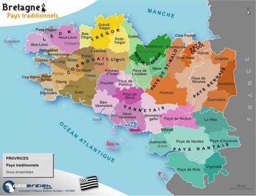 Carte des pays traditionnels de bretagne