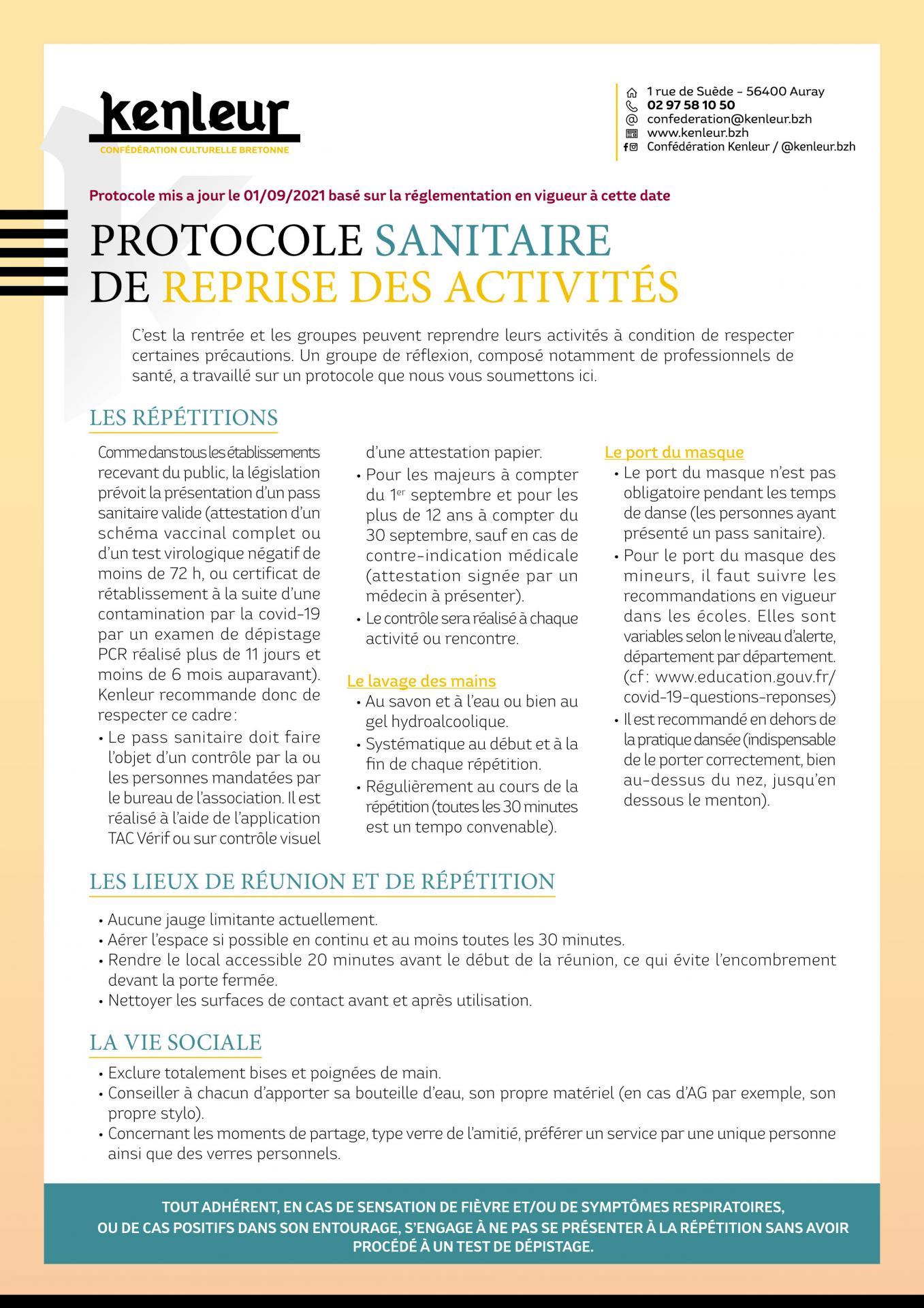 Protocole sanitaire septembre 2021